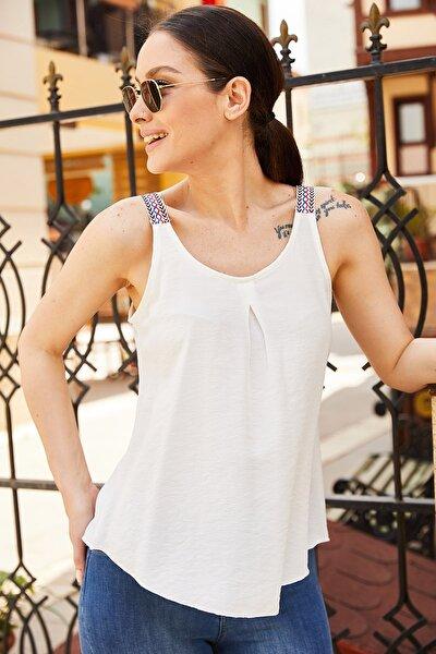armonika Kadın Beyaz Etnik Askılı Bluz Arm-20Y001041