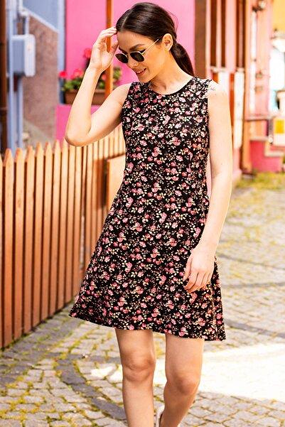 Kadın Pembe Küçük Çiçekli Kısa Elbise Arm-20Y001059