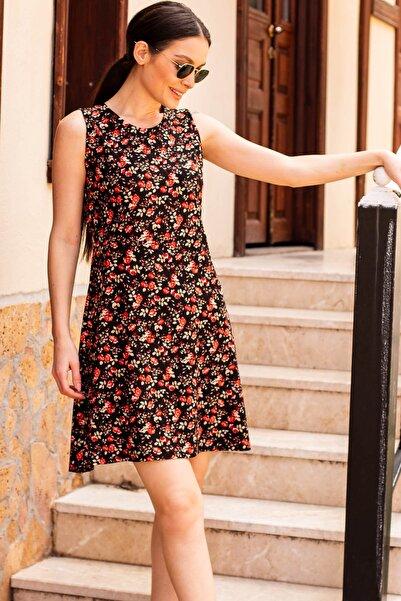 Kadın Kırmızı Küçük Çiçekli Kısa Elbise Arm-20Y001059