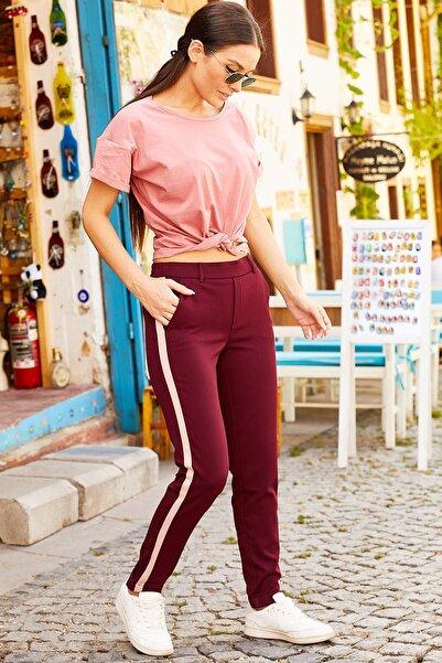 armonika Kadın Mürdüm Yanı Şeritli Beli Lastikli Pantolon Arm-20Y020003