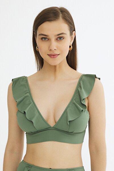 Kadın Army Vera Deep Frill Bikini Üstü
