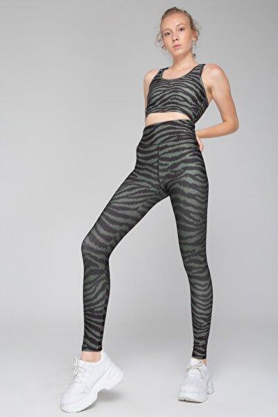 İzumi Sport Haki Zebra Desenli Süper Toparlayıcı Tayt