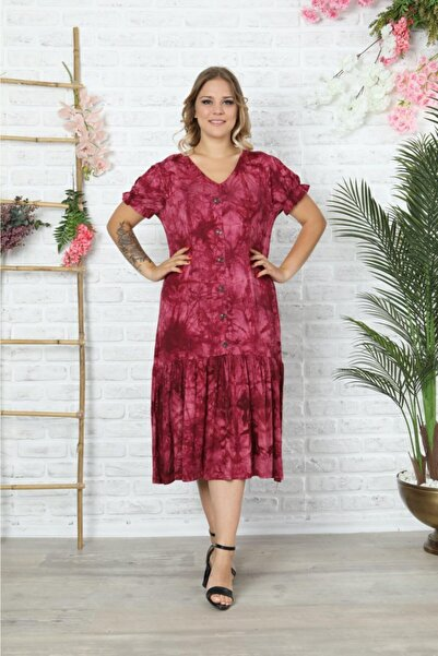 HÜLYA BUTİK Bordo V Yaka Karpuzkol Batik Elbise