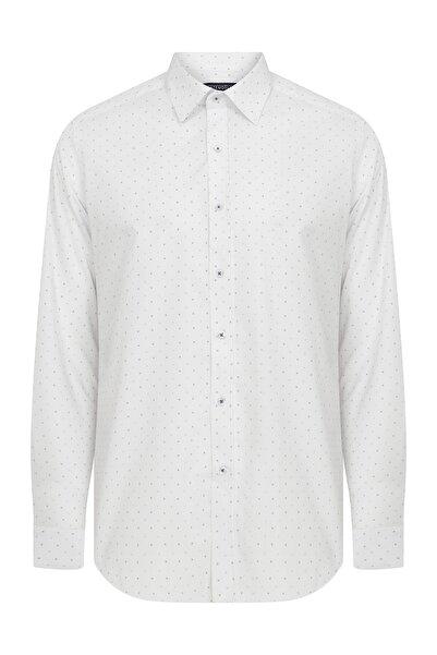 Hatemoğlu Erkek Beyaz Slim Fit Desenli  Spor Gömlek