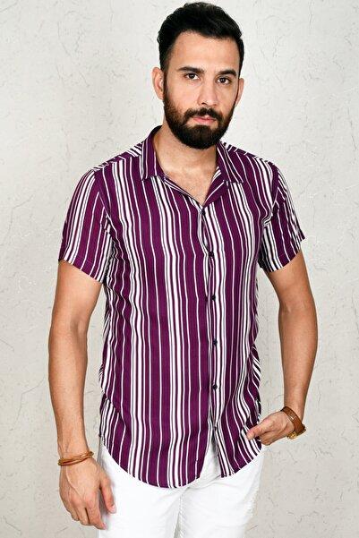 DeepSEA Mor Çizgili Kısa Kol Erkek Gömlek 2002804