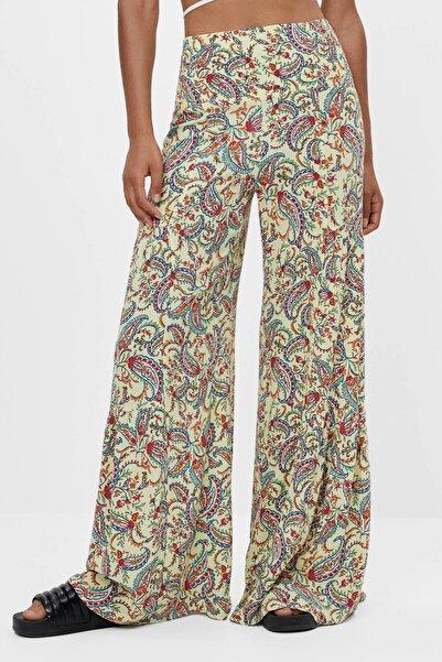 Bershka Kadın Sarı Şal Desenli Geniş Paça Pantolon