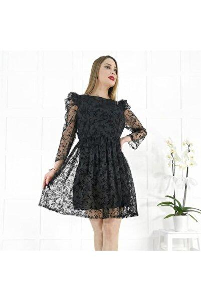 Robin Kadın Siyah Desenli Kısa Elbise