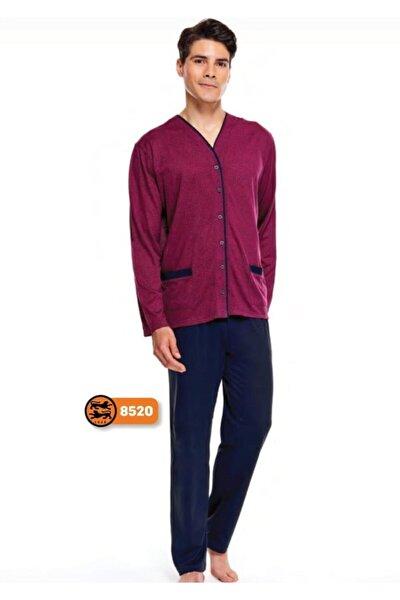 Çift Kaplan %100 Pamuk Jakarlı Önden Düğmeli Erkek Pijama Takımı 8520