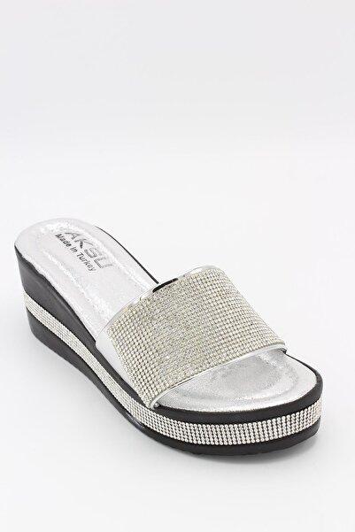 AKSU Kadın Gümüş 6cm Topuklu Terlik P3-wt60
