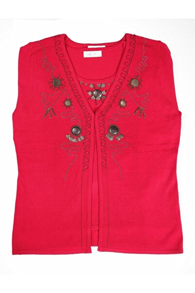 Sude Kadın Kırmızı  Triko Işli Takım 6297