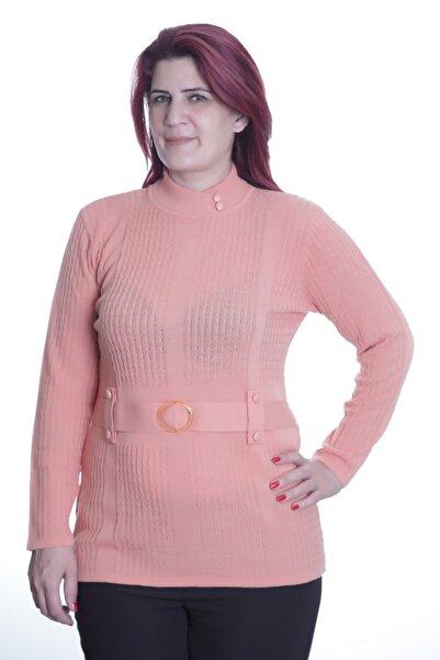 Sude Kadın Pembe Beli Kemer Detay Triko Anne Bluz 808