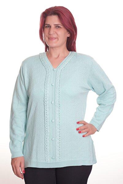 Sude Kadın Mavi Detay Triko Bluz 9796