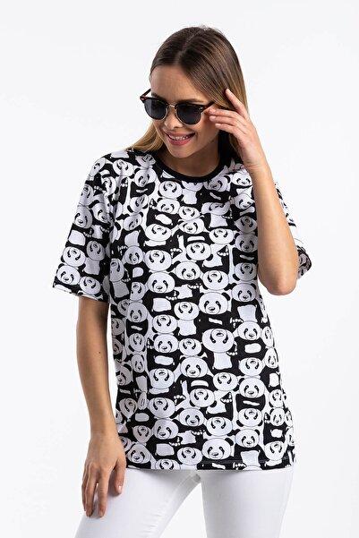 Panda Desen Salaş T-shirt Beyaz