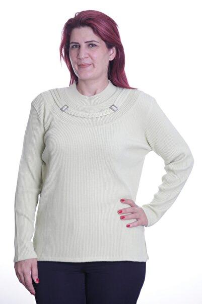Sude Kadın Yeşil Detay Triko Anne Bluz 478