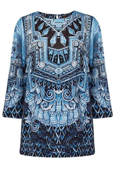 Faberlic Kadın Mavi Desenli Triko Bluz
