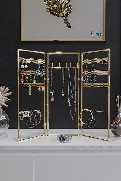 Bino Gold Altın 3'lü Takı Standı, Takılık, Küpelik, Bileklik, Kolye Seti, Takı Dolabı Düzenleyici