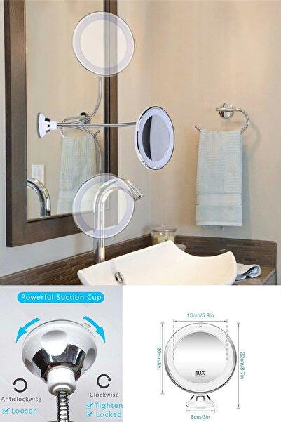 Mobee Led Işıklı Makyaj Aynası Esnek 10x Büyüteçli