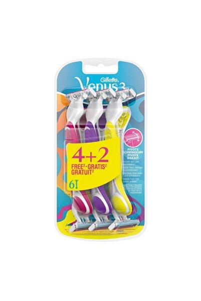 Gillette Venus 3 Renkli Kullan At 4+2 6'lı