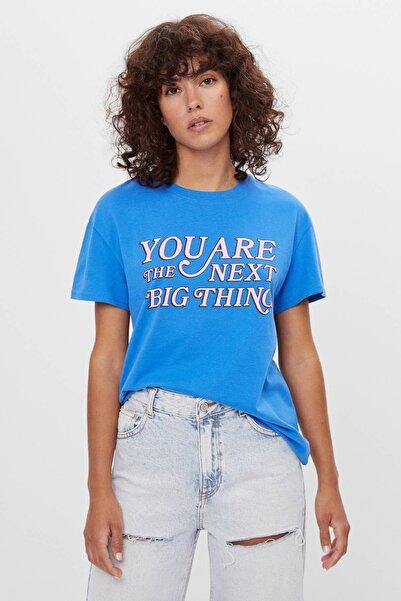 Bershka Kadın Açık Mavi Uzun Kollu Baskılı T-shirt