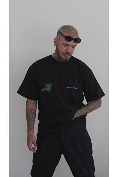 HOLEACADEMIE Unisex Siyah Oversize T-shirt