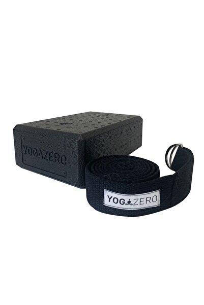 Yoga Zero Siyah Köpük Yoga Blok Ve Renk Yoga Kemer 1 Adet