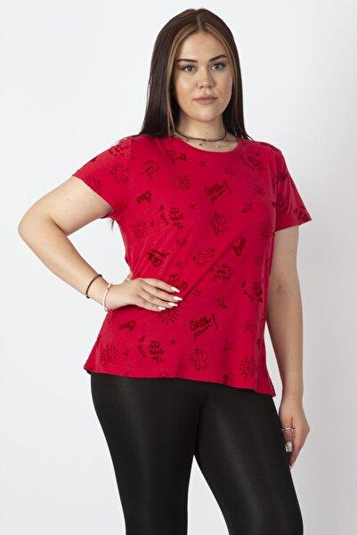 Kadın Kırmızı Flok Baskılı Kısa Kollu Tişört 65N17102