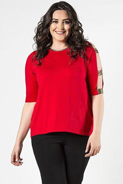 Womenice Kadın Kırmızı  Büyük Beden Kolları Geniş Biritli Bluz
