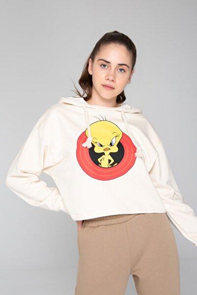 İzumi Sport Kadın Ekru Baskılı Sweatshirt
