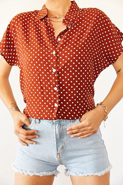 XENA Kadın Kiremit Puantiyeli Gömlek 0YZK2-10454