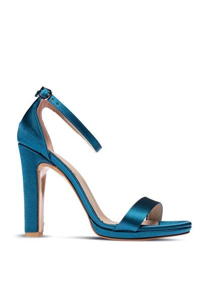 Deery Kadın Mavi Saten Abiye Topuklu Ayakkabı