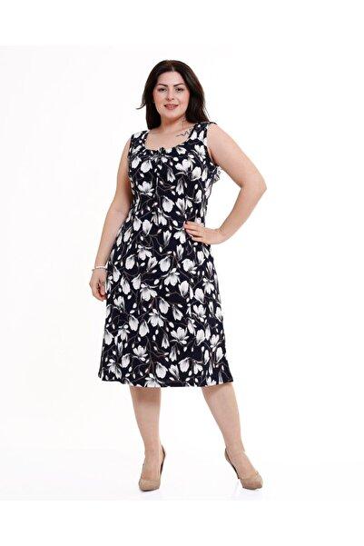 Kalın Askılı Siyah Zakkum Desen Penye Elbise