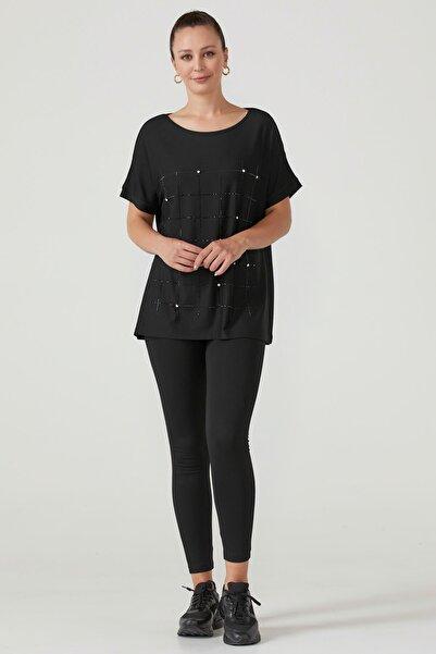 Sementa Taş Işlemeli Rahat Kesim Kadın Bluz - Siyah