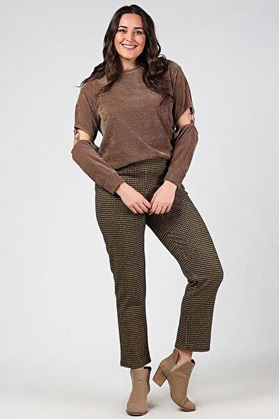 Womenice Kadın Kahverengi Beli Lastikli Likralı Pantolon