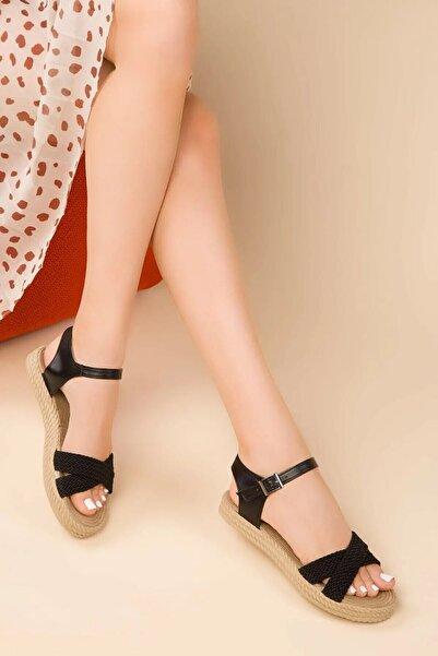 Retro Kadın Siyah Sandalet