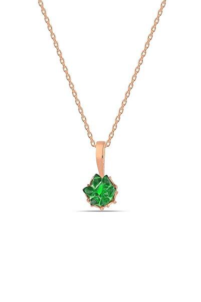 MySilvers Yeşil Zirkon Taşlı Lotus Çiçeği Gümüş Kolye