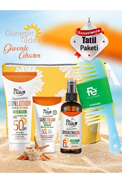 Farmasi Sunscience Güneş Losyonu 75-ml & Yüz Kremi 50-ml & Bronzlaştırıcı Yağ 115-ml & Çanta & Fe Tarak 118
