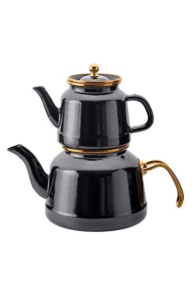 Troy Emaye Çaydanlık Takımı Siyah