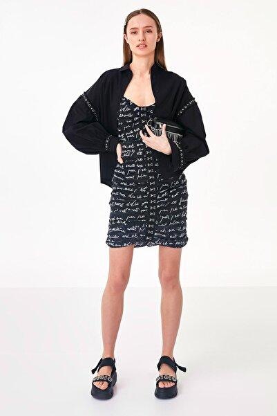 Twist Kadın Siyah Kuş Gözü Baskı Şeritli Gömlek TS1200025256001