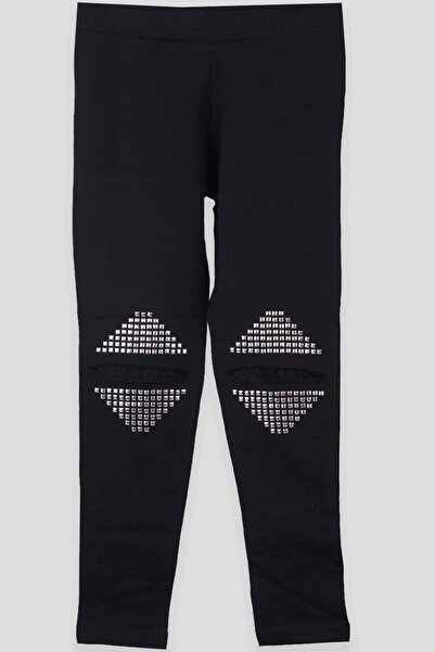 Breeze Siyah Çocuk Diz Detaylı Pantolon