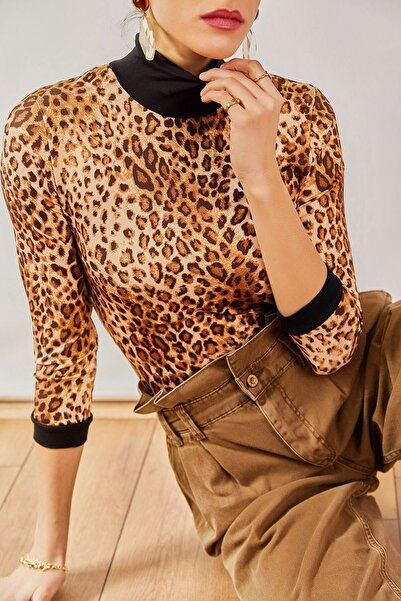 boutiquen Kadın Kahverengi Siyah Yakalı Leopar Bluz 1058