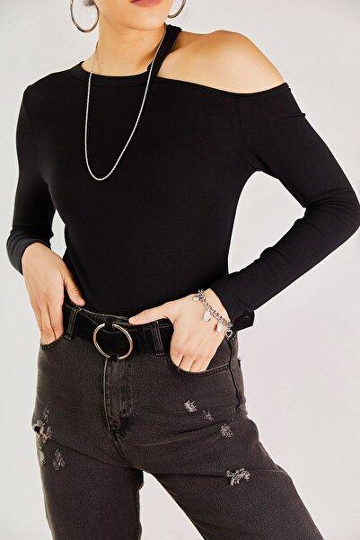 boutiquen Kadın Siyah Tek Omuzu Açık Bluz 11060