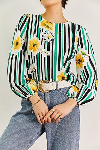 boutiquen Kadın Yeşil Çiçek Desenli Bluz 1320