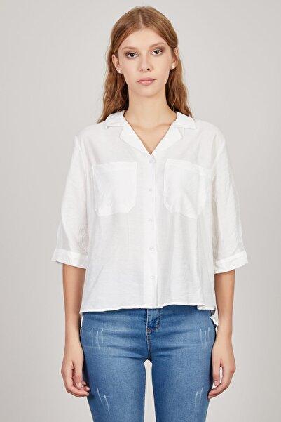 Kadın Ekru Cepli Gömlek