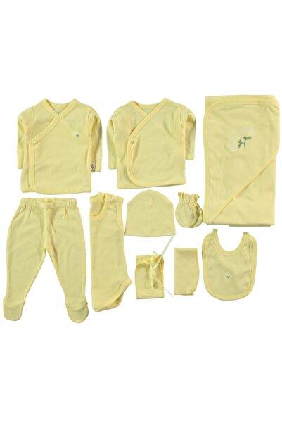 Minidamla Unisex Bebek Sarı Hastane Çıkışı Zıbın Seti 10'Lu