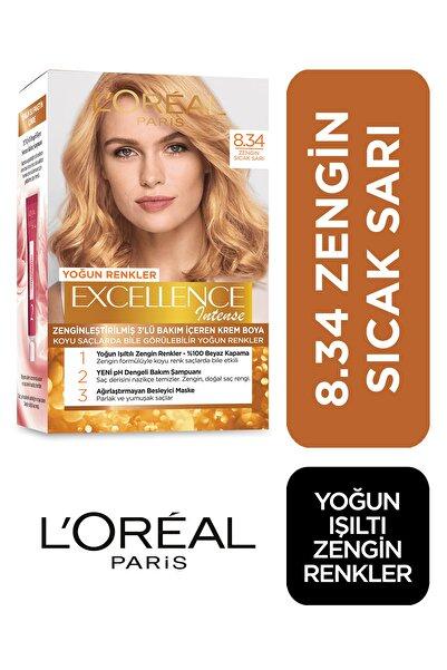 Saç Boyası - Excellence Intense 8.34 Zengin Sıcak Sarı 3600522822295
