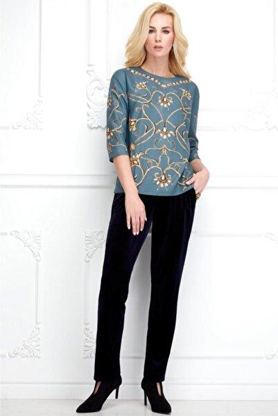 Faberlic Kadın Mavi Ampir Desenli Bluz