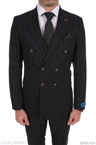 Vialli Erkek Antrasit Çizgili Slimfit Kruvaze Takım Elbise