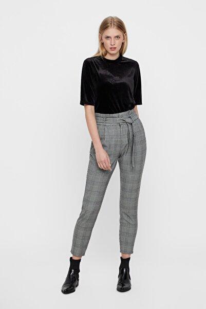 Vero Moda Kadın Gri Kareli Paperbag Bel Kumaş Pantolon 10209834 VMEVA