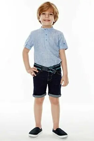 Wonder Kıds Wonder Kids Kısa Kollu Gömlek Tshrt Mavi