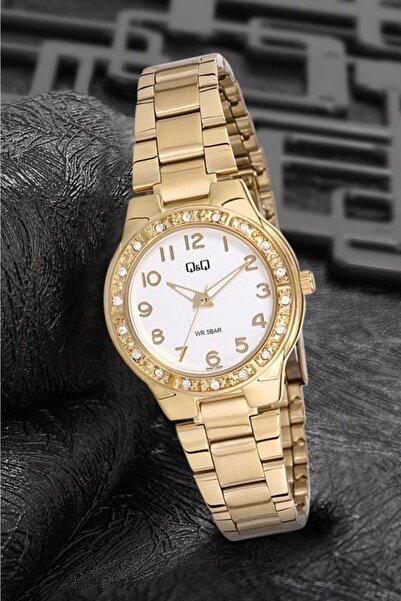 Q&Q Q691j014y Taşlı Altın Renk Bayan Kol Saati